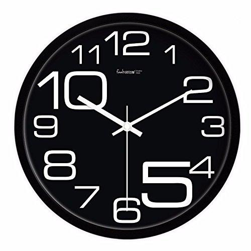 Jedfild kreative Wohnzimmer Quarzuhr alle schwarzen Chinesischen stilvolle große Digitale Wanduhr stumm Um die Mauszeiger beim Uhren, 14-Zoll, 2 Schwarze