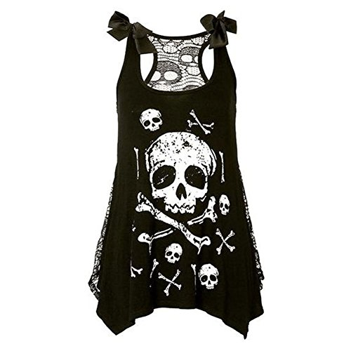 Deylay Gothic Punk Style Skull Print Tank Dress Vest Sleeveless Tank Top Shirt Weiss L