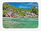 JIEKEIO Tropical Bath Mat, Landscape of Island with Trees in Seychelles and The Sky Digital Print, Plush Bathroom Decor Mat with Non Slip Backing, 23.6 W X 15.7 W inches, Blue and Fern Green