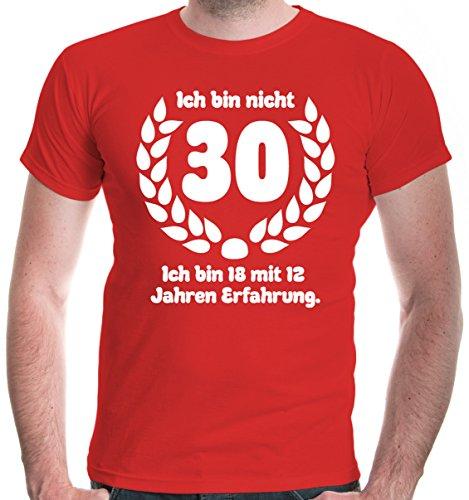 buXsbaum® Herren T-Shirt Ich bin nicht 30. Ich bin 18 mit 12 Jahren Erfahrung   Sprüche Geburtstag Geschenk   L, Rot