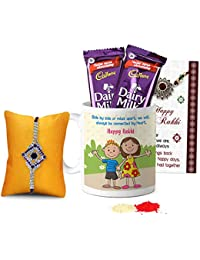 Tied Ribbons Rakhi Combo for Brother Designer Rakhi with Rakshabandhan Special Printed Coffee Mug and 2 Dairy Milk Chocolates, Roli Chawal