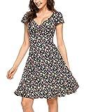 Beyove Damen Wickelkleid Sommerkleider Vintage Blumen Kleid V-Ausschnitt Partykleid Cocktailkleid Blau XXL