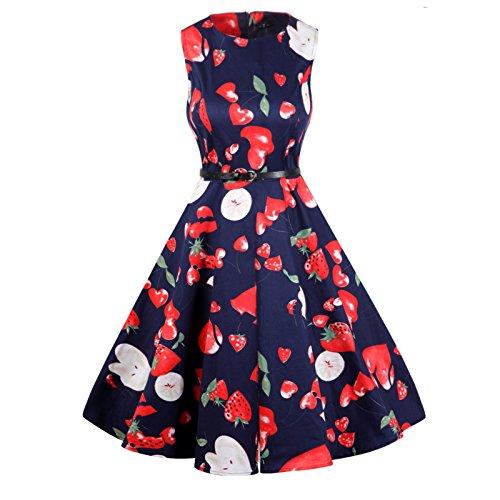 Lylafairy Hochzeit Kleider, Damen A-Linie 50er Vintage Abendkleid Rockabilly Kleid Knielang Festliches Pin Up Kleid Partykleider Cocktailkleider (38, Apple02)