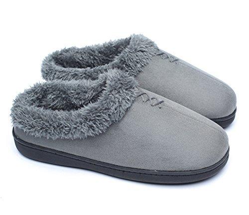 Ofoot - Zapatillas para Mujer de Espuma viscoelástica para Interiores y Exteriores, Parte Inferior de Goma rígida con Parte Trasera para Mujer, Color Gris, Talla 42 EU-44 EU