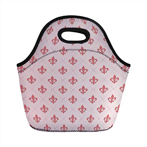Portable Bento Lunch Bag,Coral,Checkered Pattern with Ancient Symbol of Fleur De Lis Royal French Lily Flower,Coral Baby Pink,for Kids Adult Thermal Insulated Tote Bags Fleur Thermal