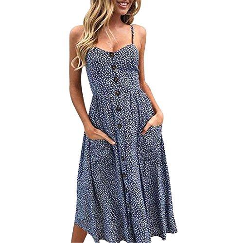 Damen Kleid, Knöpfe aus der Schulter Ärmellos Prinzessin Abendkleid für Frauen FRIENDGG Mädchen...