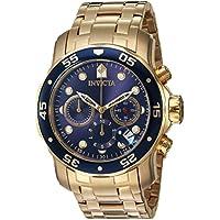 Invicta Pro Diver - 0073 Orologio da Polso, Cronografo, Uomo, Cinturino Acciaio Inossidabile, Oro - 18k Quadrante Blu