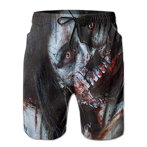 horts Swim Trunks,Scary Dead Woman with A Bloody Axe Evil Fantasy Gothic Mystery Halloween Picture,Summer Cool Quick Dry Board Shorts Bathing Suit XL ()