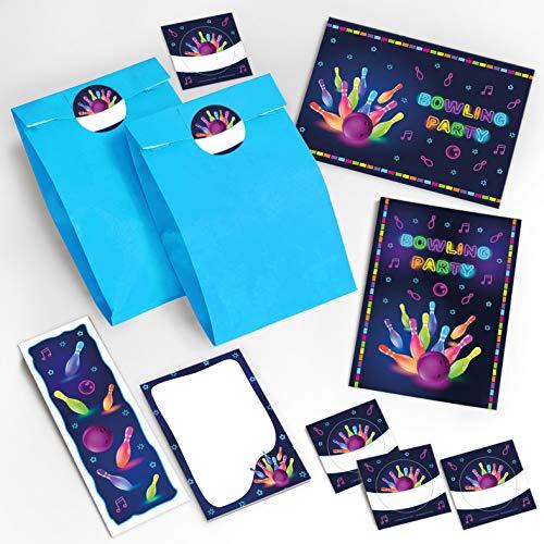 """12 Einladungskarten zum Kindergeburtstag \""""Bowling\"""" für Mädchen und Jungen / Erwachsene / bunte Einladungen zum Geburtstag / Geburtstagseinladungen incl. 12 Umschläge, 12 Tüten / türkis, 12 Aufkleber, 12 Lesezeichen, 12 Notizbücher"""