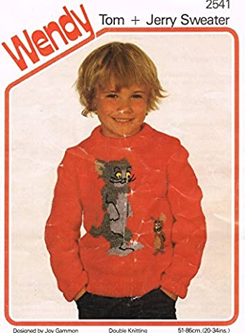 Wendy Knitting Pattern 2541, Childrens Round Neck Sweater with Tom