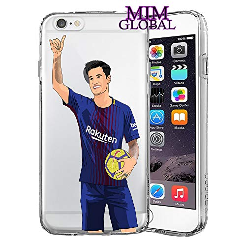 MIM Global Etuis Coque iPhone Football Soccer Case Cover - Haute Qualite - Messi - Ronaldo - Neymar - Pogba - Bale - Suarez (iPhone 6/6s, Coutinho)
