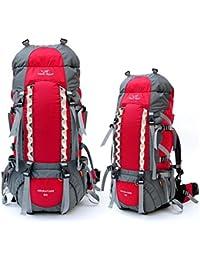 bolso del bolso del recorrido del hombro 60L gran capacidad recorrido al aire libre del bolso del alpinismo hombres y mujeres ( Color : Rojo , Tamaño : 56-75L )