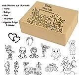 Kinder und Baby Box aus Holz mit Gravur - Name, Geburtsdaten, Motiv - Erinnerungsbox, Aufbewahrungsbox, Schatzkiste für Jungen und Mädchen zur Geburt, Taufe, Geburtstag