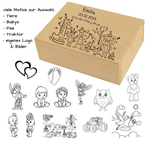 Kinder und Baby Box aus Holz mit Gravur - Name, Geburtsdaten, Motiv - Erinnerungsbox, Aufbewahrungsbox, Schatzkiste für Jungen und Mädchen zur Geburt, Taufe, Geburtstag -