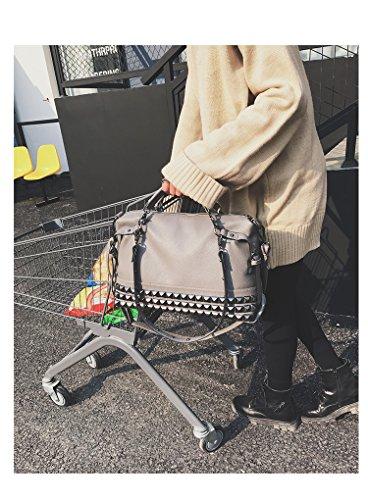 Sacchetto di spalla del sacchetto di Tote delle borse di cuoio con il rivetto per le donne (nero) grigio