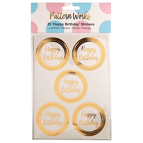 Neviti Pattern Works Sticker Happy Birthday, Gold