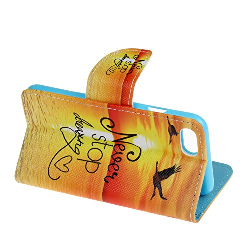 AllDo Bookstyle Schutzhülle für iPhone 7 PU Leder Hülle Klapp Ledertasche Brieftasche Mappen Kasten Flip Wallet Case Cover Weiche Schlanke Schale Flexibel Leichte Tasche Ultra Dünne Etui Standfunktion Fliegende Vögel im Sonnenuntergang