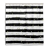 ALAZA Schwarzweiß-Streifen mit Gold-Punkt-Druck-Duschvorhang 72 x 72 inch, schimmelresistent und Wasserdicht Polyester Dekoration Badezimmer-Vorhang