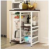 DFHHG® Küche Home Multifunktions-Mikrowelle Ofen Rack Regal Backofen Aufbewahrungsbox Rot Walnuss Farbe Stark und langlebig