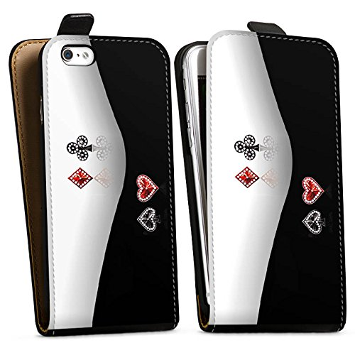 Apple iPhone X Silikon Hülle Case Schutzhülle Kreuz Karo Herz Downflip Tasche schwarz