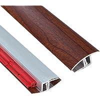 Perfil de transición autoadhesiva con acabado de madera de borgoña y altura regulable, 900 mm de largo x 40 mm de ancho