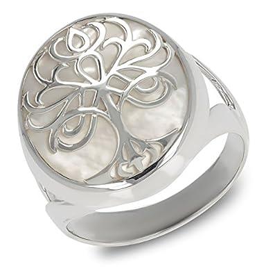 idee cadeau fille-Cadeau bijoux symbole Arbre de vie-Bague-Nacre blanche-Argent massif-Femme