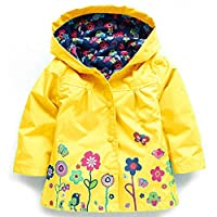 Girl's Raincoat Waterproof Hooded Coat Jacket Snowsuits (120cm(Age for 5-6Y), Yellow)