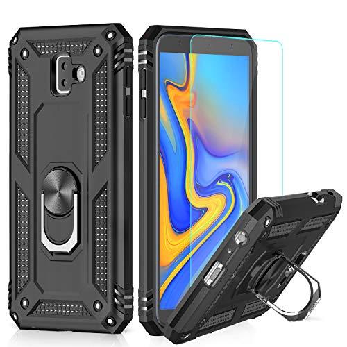 LeYi Hülle Galaxy J6 Plus Handyhülle,360 Grad Drehbar Ringhalter Cover TPU Magnetische Bumper Schutzhülle mit HD Folie Schutzfolie für Case Samsung Galaxy J6 Plus/Galaxy J6+ Handy Hüllen Schwarz