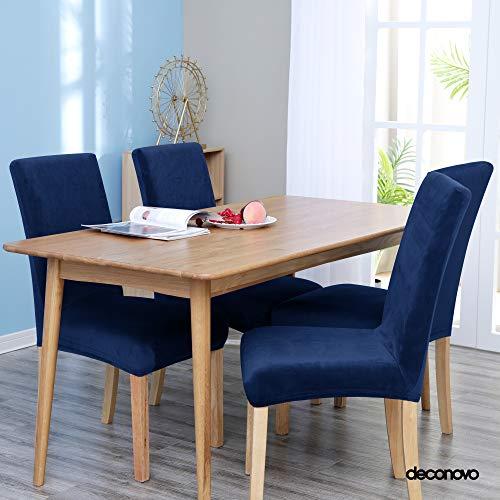 Deconovo coprisedie con schienale 4 pezzi elasticizzato fodera coprisedia universale in velluto elegante per sedia da ufficio blu navy