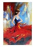 wieco Art–Flying Rock modernes gespannt und gerahmt Kunstwerken Dancing People Öl Gemälde auf Leinwand abstrakt Wand Kunst fertig zum Aufhängen für Wohnzimmer Schlafzimmer Home Dekorationen Wand Decor