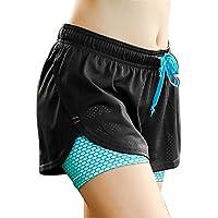 Tofern Damen/Mädchen 2 in 1 Yogahose Sporthose Shorts Sommer kurz für Sport Yoga