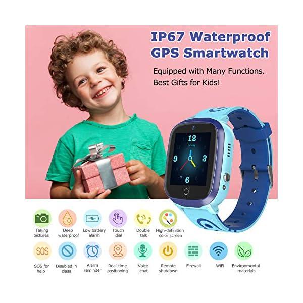 MeritSoar Tech GPS Smartwatch para Niños - WiFi + GPS + LBS Tracker Phone Smart Watch con Contador de Pasos Geo Fence Cámara Calling SOS Chat de Voz Juego para 3-12 Niños Compatible iOS/Android 3