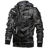 KPILP Herrenjacke Kunstleder Bikerjacke mit Sweat- Kapuze Bomber Design Retro Vintage Jacke Hoodie Windbreaker Herbst Winter Mantel Jacken Outdoor Outwear