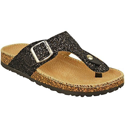 Ladies Womens Flat Sandals Glitter Flip Flops Slip On Toe Post Thong Grip Size