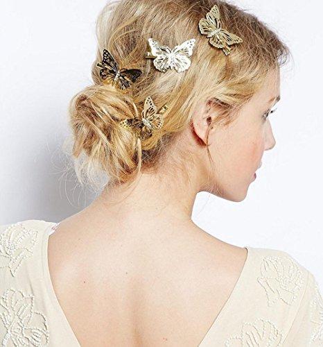 aukmla diapositivas de pelo y Clips de Golden all-match Cute mariposas pelo pins...