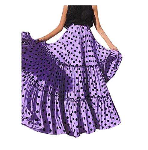 219624582 Gusspower Mujer Falda Maxi Vintage Casual Tallas Grandes Cintura Alta  Impresión de Lunares Falda Larga Plisada con Volantes Sueltos Elástico  Falda ...