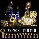 12 pieces: LED bottle light, big house, 20 LEDs, 2 m light chain, copper wire, battery-operated wine bottle lights with cork cord light for DIY decoration Christmas party holiday mood lights (warm white).
