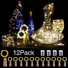 12 Paquetes Luces de botellas, BIG HOUSE 2M 20 LEDs Alambre de cobre Funciona con de vino con corcho Luces de luces dormitorios de Bodas Interior Navidad ...