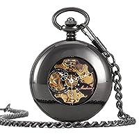 UNIQUEBELLA Pocket watch-Mechanical-Automatic-Unisex-Vintage-Alloy Chain-C4 F232-Black