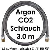 Argon CO2 Schutzgas Gasschlauch 3,0 Meter beidseitig G 1/4' RH Überwurmuttern - Profi Gummischlauch von Gase Dopp