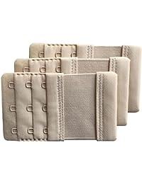 Chanie Women Pack of 3 Soft Comfortable 3 Hooks Bra Extender,9.4cm x 5.6cm
