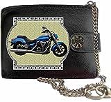 Yamaha XVS 1300A night Star Blau Bild auf KLASSEK Marken RFID Herren Geldbörse Portemonnaie Echtes Leder mit Kette Motorrad Bike Zubehör Geschenk mit Metall Box NICHT OFFIZIELLE YAMAHA Produkte
