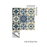 DRAULIK TS029 Lot de 10 dalles en céramique style marocain moderne et minimaliste