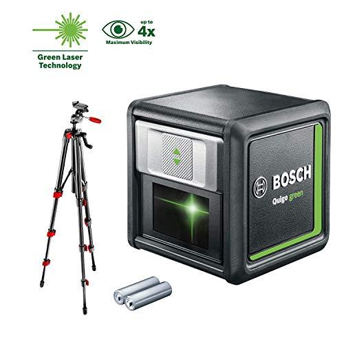 Bosch Kreuzlinienlaser Quigo green Set (2x Batterien, grüne Laserdiode, Arbeitsbereich: 12 Meter, im Karton, Grün Laser mit Stativ )