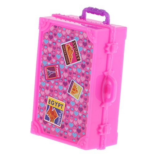 Segolike Mini Lovely Plastic Suitcase Luggage Box for Barbie Doll House Decor Kit  available at amazon for Rs.210