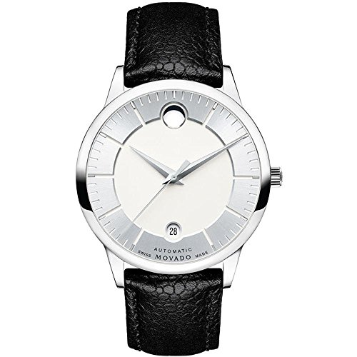 Movado Men's 1881 39.5mm Black Leather Band Steel Case Automatic Silver-Tone Dial Analog Watch 0607022