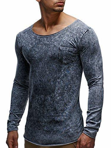 LEIF NELSON Herren Basic Longsleeve Pullover Hoodie Sweatshirt Oversize Totenkopf Sweatjacke LN06212 S-XXL; Größe S, Anthrazit  
