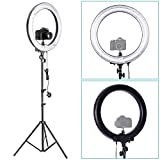 Neewer® Photo Video Ring Fluorescent Flash Light Kit, includes (1)18in/45cm Dimmable 75W 5500K Ring Light+(1)75inch/190cm Light Stand+(1)Mini Ball Head and Hot Shoe Adapter Camera Cradle