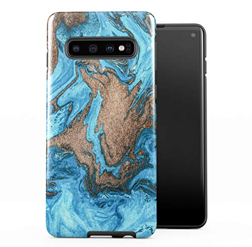 DODOX Case Cover Kompatibel mit Samsung Galaxy S10 Silicone Inner & Outer Hülle 2-Teilig, Doppellagig: PC + TPU Robuste Handyhülle Water Gold & Turquoise Marble Stone Print -