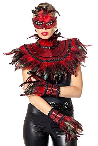 Wilbers Damen Kostüm Kriegerin Teufelin Maske Handschuhe Kragen Halloween